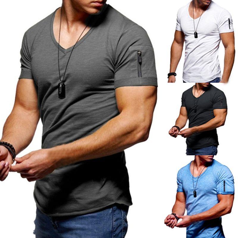 Doux couleur solide T-shirt pour hommes Fitness Casual Homme à manches courtes T-shirt d'été col en V Slim Fitness Vêtements pour hommes