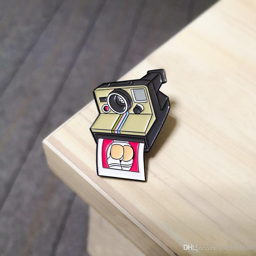 Câmera de vídeo câmera esmalte pin polaroid câmera foto interessante broche fotógrafo distintivo jóias personalizado lapela pin presentes homens
