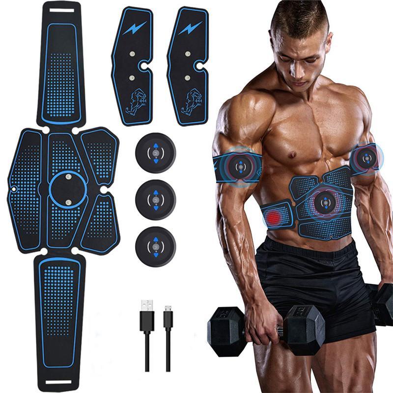 6pcs Kablosuz Kas Stimülasyon Trainer Akıllı Spor Karın Eğitim Elektrik Zayıflama Çıkartma Vücut Zayıflama Kemeri USB Şarj