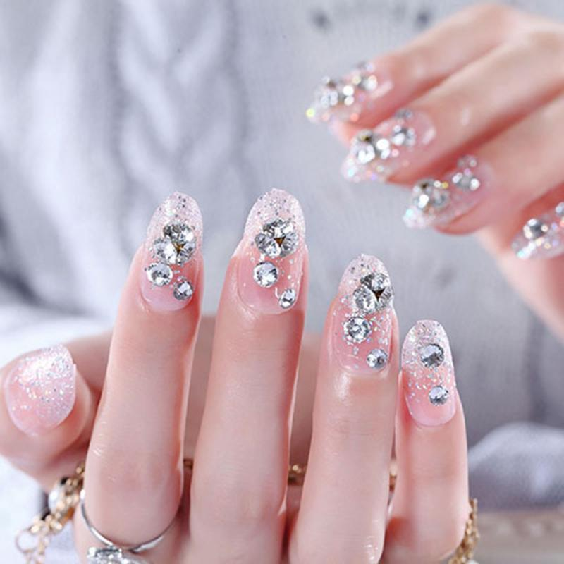 20pcs/set Fake Nail Decoration Powder Round Head Diamond Backed Fake Nails Bridal Nail Patch Nail Art Tips Manicure Tools