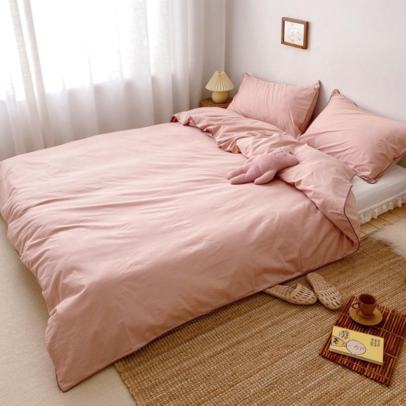 가정 직물 북유럽 누비이불 덮개 1pcs 베개 상자 2pcs 순수한 면 침구 고정되는 순수한 색깔 깃털 이불 덮개 침대