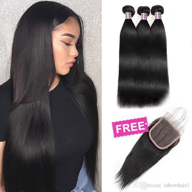 Big Spring Sales Promotion Купить 3 Связки Получить 1 Free Lace Closure Бразильский перуанский малазийский человеческих волос Пучки с закрытием прямых волос
