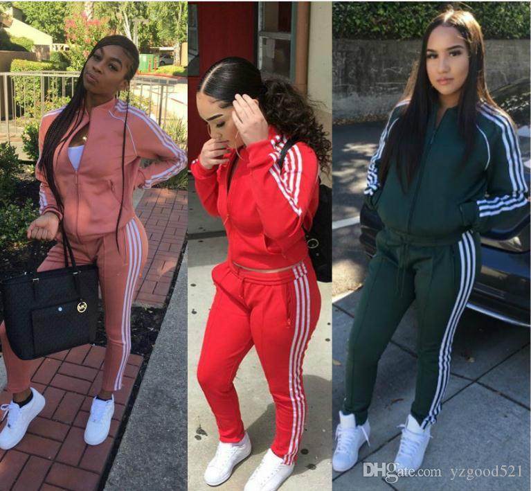 Frauen Printed Fall Tracksuits Lang-Hülse beiläufige Sportwear Kostüme Outfits Trainingsanzüge Jogger Sets ziipper Jacken Pullover und Hosen