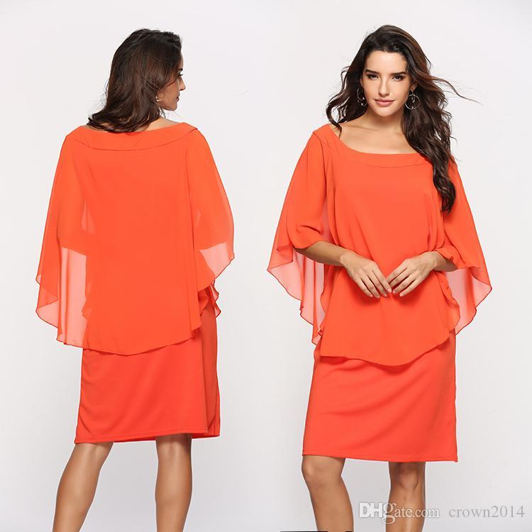 2020 쉬폰 어머니 신부의 드레스와 소매 무릎 길이 플러스 사이즈 정장 드레스 우아한 이브닝 웨딩 게스트 드레스에 대한 여성의 저렴한