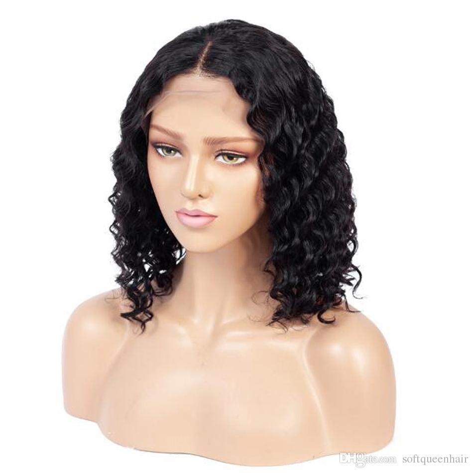 موجة عميقة الدانتيل الجبهة شعر الإنسان بوب الباروكات البرازيلي ريمي الشعر 13x4 شعري الطبيعي غلويليس قصيرة مجعد الرباط الجبهة بوب الباروكات
