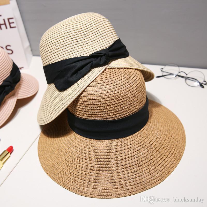 Pliable adulte plage Chapeau d'été sauvage Chapeau de soleil frais Protection contre le soleil Chapeau de paille Fête des Mères Cadeau