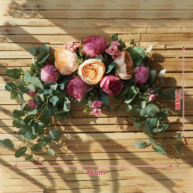 DIY Wedding Peony Backdrop Artificial Flowers Hanging Wreath Handmade Swag Table Runner Centerpiece Fake Garland Home Decor
