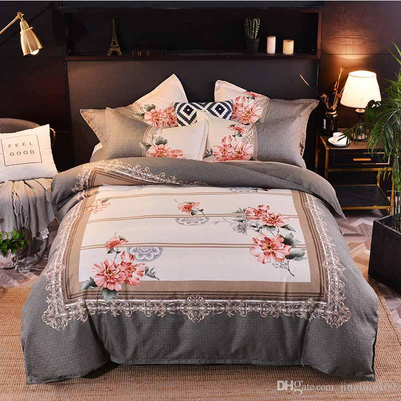 2019 Cartoon Stickerei Serie vierteilige Bettwäsche Luxus Quilt Set Blume 100% Baumwolle Bettwäsche Bettwäsche Outlet Life Sets New Home Dekor