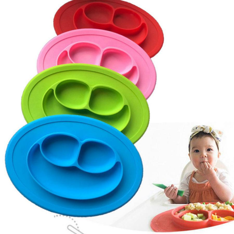 الطفل سيليكون السلطانيات أطباق لوحات الغذاء الصف سيليكون غير زلة لطيف السلطانية للطفل من قطعة واحدة طبق الطعام حصيرة RRA2839-7
