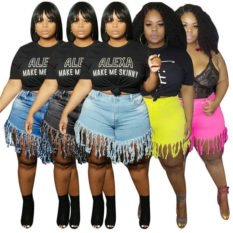 2020 L-4XL estate Donna Bermuda nappa Jeans denim lavato pantaloncini a vita alta dell'annata di modo delle ragazze brevi pantaloni jeans femminile Pants D6907