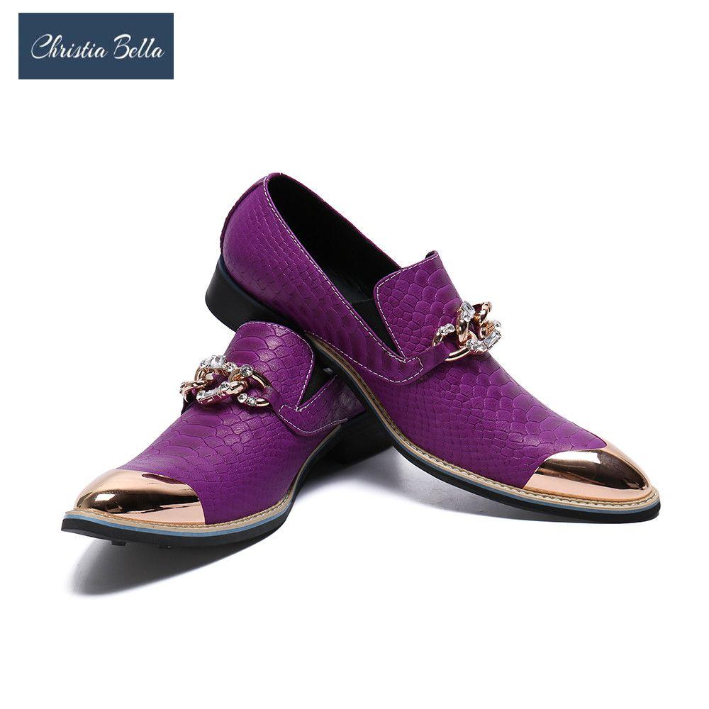Christia Bella Fashion Snake Skin Genuine Leather Men Business Shoes Plus Size Slip On Metal Pointed Toe Formal Dress Men Shoes