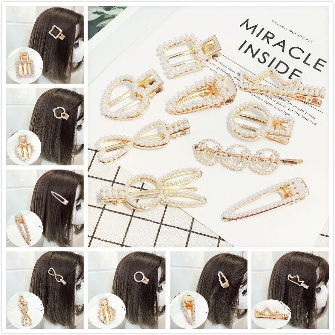 Les nouveaux cheveux perle strass accessoires cheveux couronne pince alliage mignon pleine duckbill perle bijoux clip cadeau Bangs épingles à cheveux