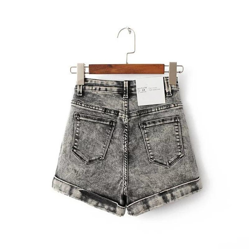 Curto Femme Mulheres Shorts Mulheres Euro Style cintura alta Denim Shorts estiramento Casual Jeans básicas Shorts de alta qualidade para Spring Summer Autumn