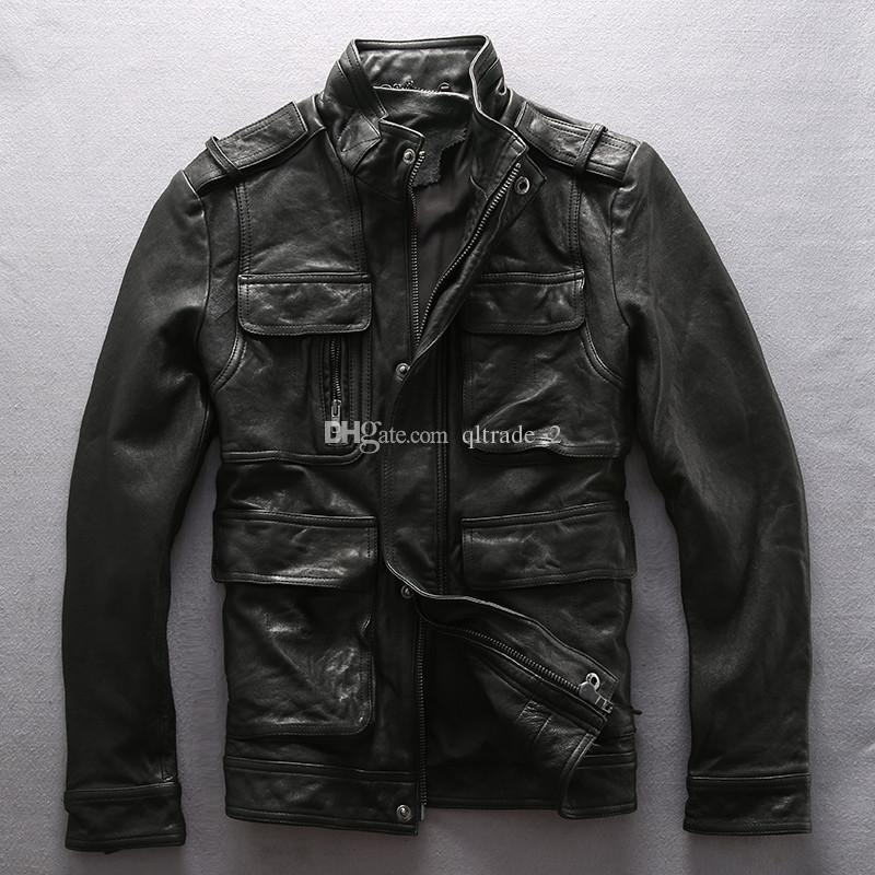 M65 Hunting alpha Flocking Schaffell echte Lederjacken Militäruniform mit Taschen 100% echtes Leder