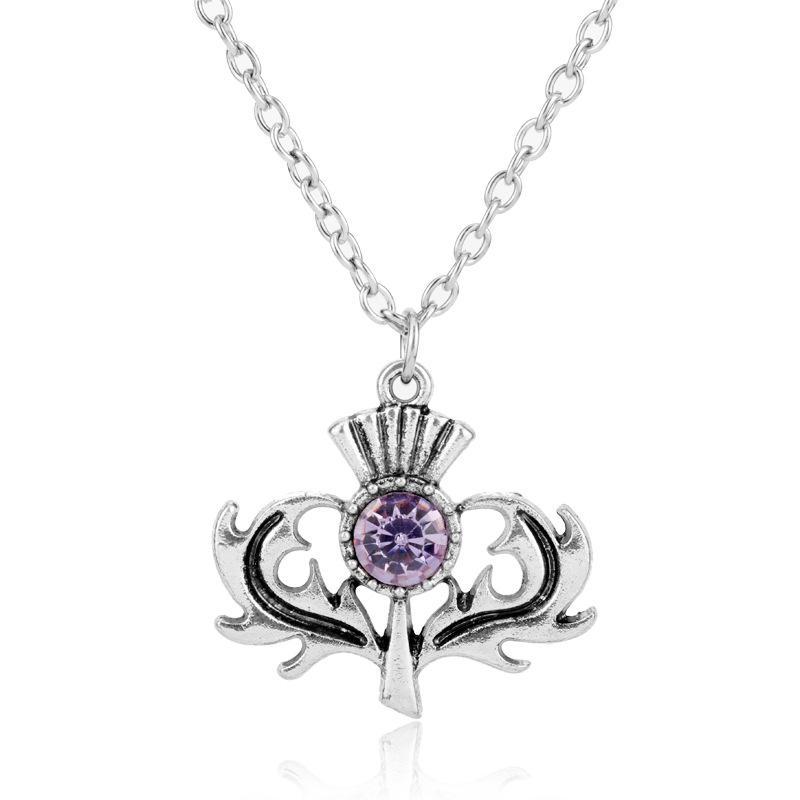 Mulheres moda jóias ligação cadeia choker outlander cardo flor colar feminino retro acessórios colares com charme pingente