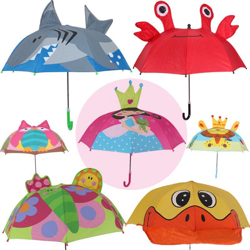 مقبض طويل مظلة المطر للأطفال 3d الحيوانات طباعة لطيف الأطفال مظلة لصبي فتاة أدوات حماية الطفل Y19062103 2021 من Qiyuan10 60 98ر س موبايل Dhgate