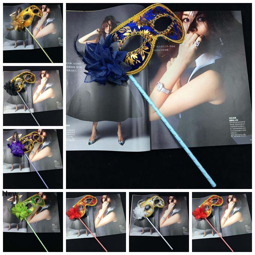 Party-Masken Goldstoff Beschichtete Flower Side venezianischer Maskerade-Partei-Maske auf Stick Karneval Halloween-Maske ZZA1486
