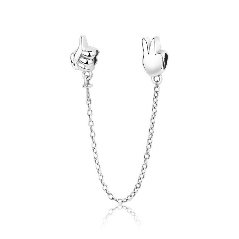 Nouveau authentique 925 rose perles en argent sterling Victoire pouces de sécurité de la chaîne de bricolage Charm Fit original Bracelets d'Europe Femmes Fabrication de bijoux