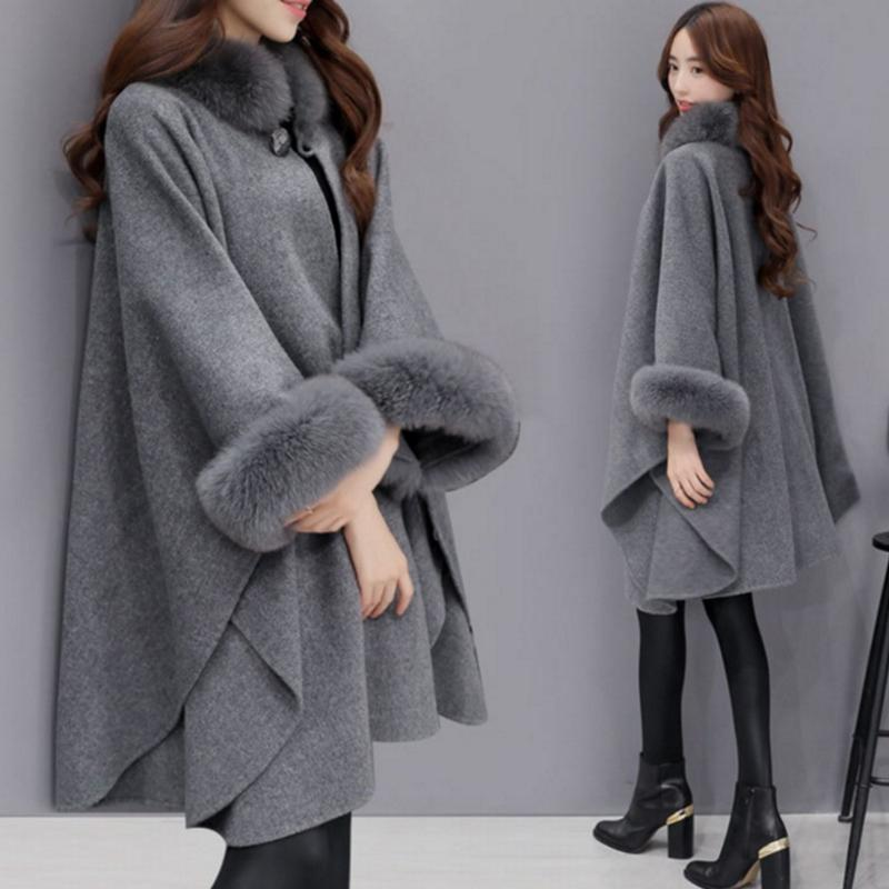 Ponchos and Capes Women Fashion Ladies Flare Sleeve Faux Fur Collar Winter Gray Wool Cloak Cape Coat Poncho Long Overcoat