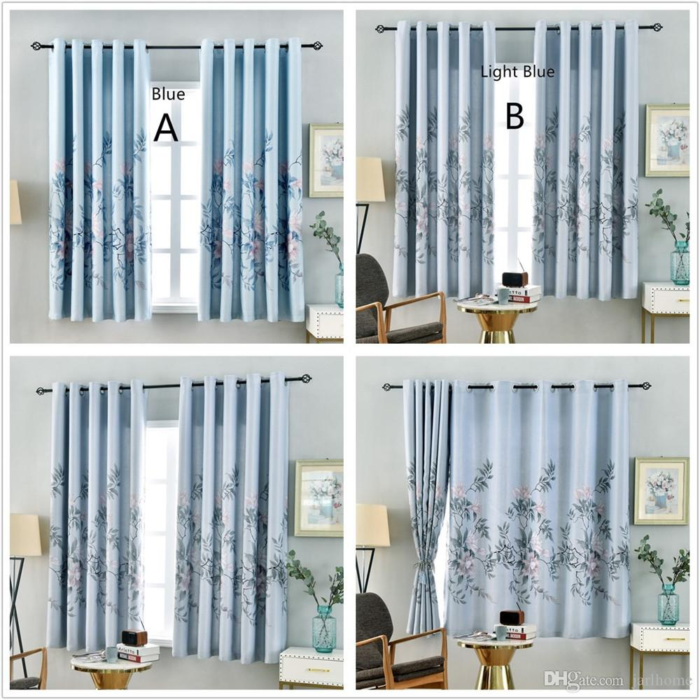 Jarl Home Curtains for Living Room Grommet Flower Printed Short Blackout Curtain for Kitchen 100*200 cm Insulation Window Panels