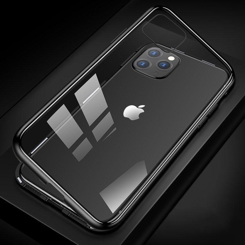 Cassa del metallo magnetica per iPhone 11 Pro Max XR XS MAX X + vetro temperato magnete caso della copertura di iPhone 8 7 6 6s s più l'argomento