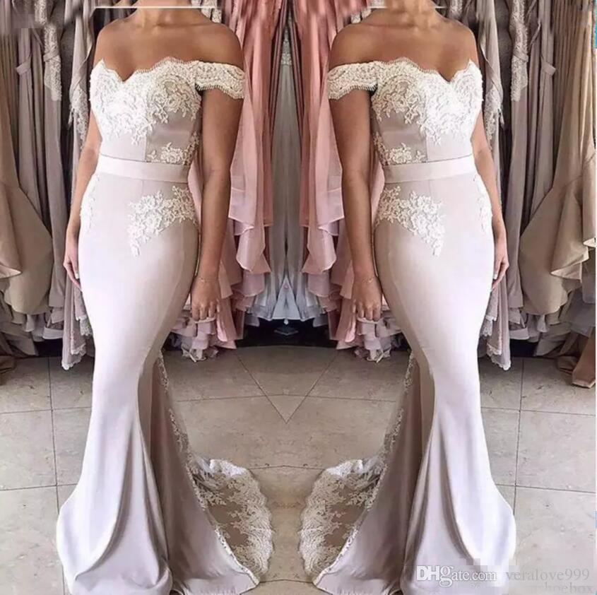 Mermaid Junior Bridesmaid Dresses Long Off-shoulder Zipper Back Formal Wedding Party Gowns Off Shoulder Girls Maid Of Honor Dress Cheap