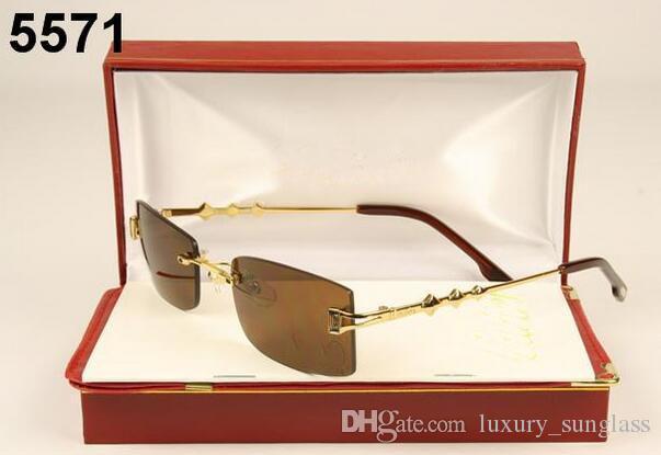 lunettes de corne de buffle d'oeil de chat de la marque cadres d'argent d'or des lunettes lentilles claires de lunettes de soleil mens vintage avec cas