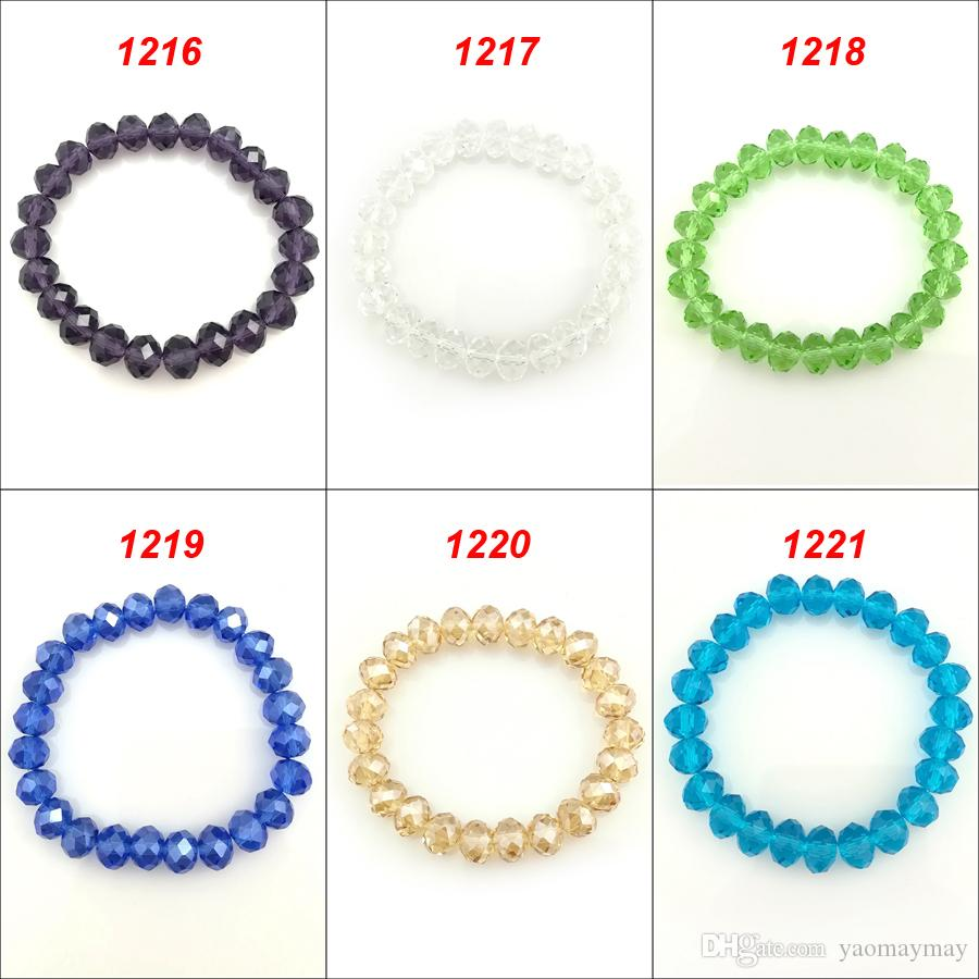 20 шт. / лот высокое качество 10 мм граненый Кристалл бисером браслеты эластичный для подарка 1216-1221 шесть цветов