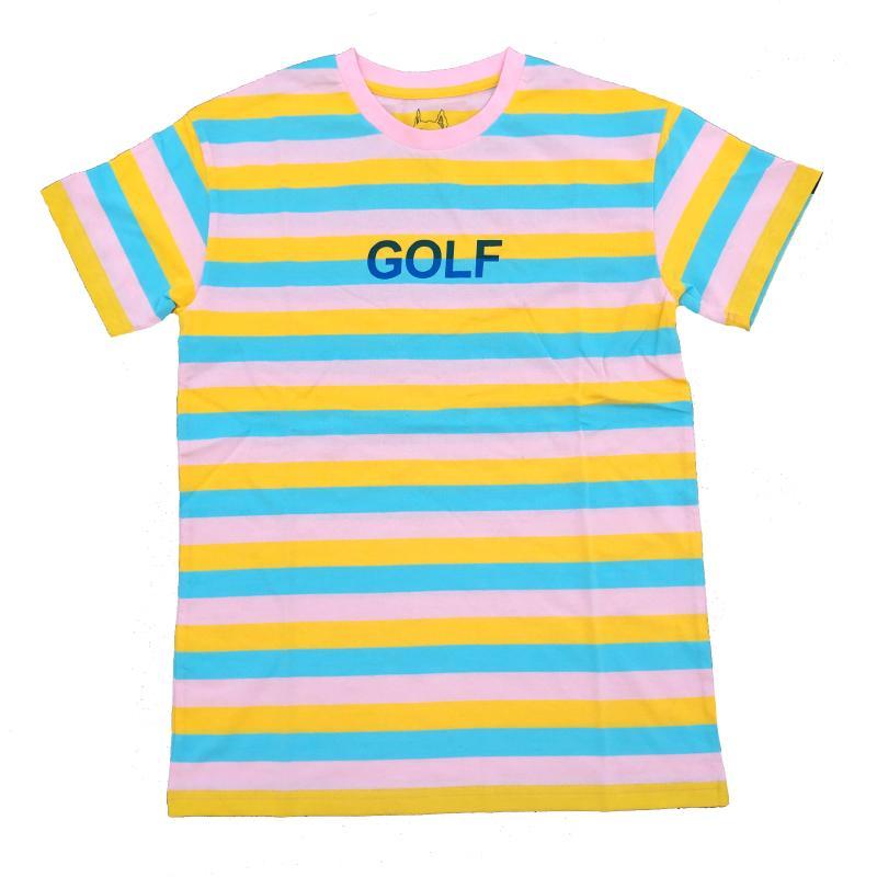 Nuevas 2019 rayas de golf Le Fleur Tyler The Creator T Shirts camiseta de Hip Hop de la calle monopatín camisetas de algodón Camiseta Top # AB50 V200411