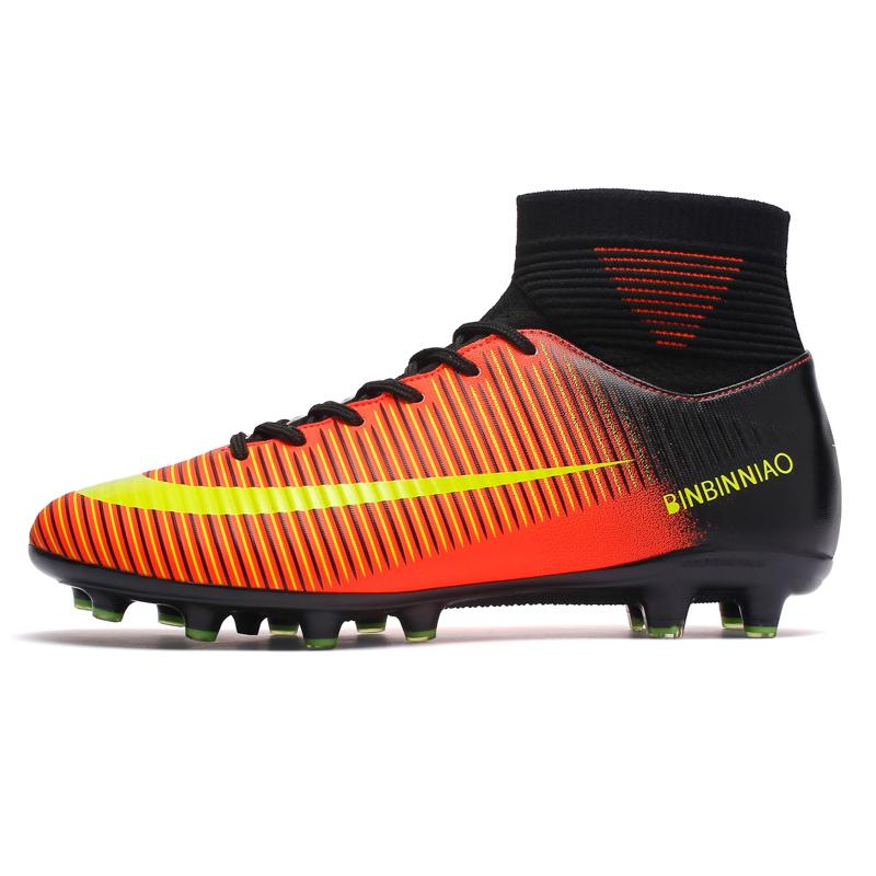03eaa7d4e Outdoor Men Boys Soccer Shoes Football Boots High Ankle Kids Cleats  Training Sport Sneakers Size 35-44 Free shipping