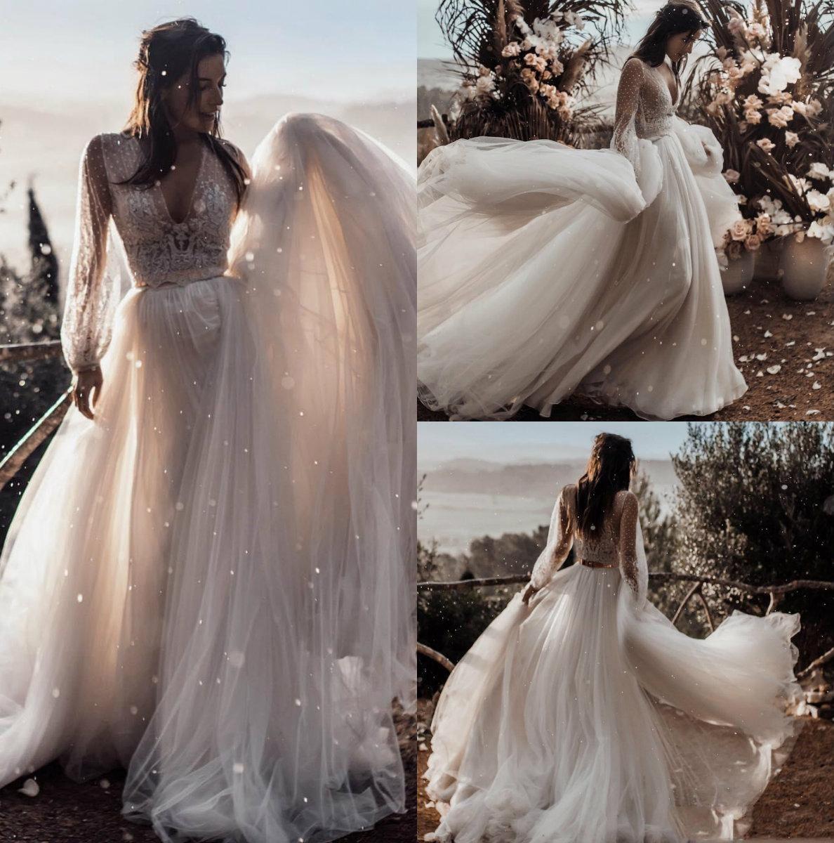 Сексуальные двухсекционные свадебные платья Глубокий V шеи с длинными рукавами пляжные свадебные платья 2019 дешевые плюс размер