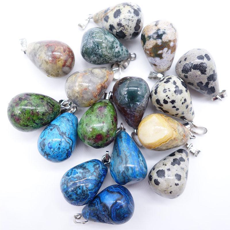 Heilstein-Wasser-Tropfen-Anhänger-Charme Amethyst Opal Obsidian Chakra Perlen Qualitäts-Schmucksachen Naturstein-Anhänger passen für Halskette
