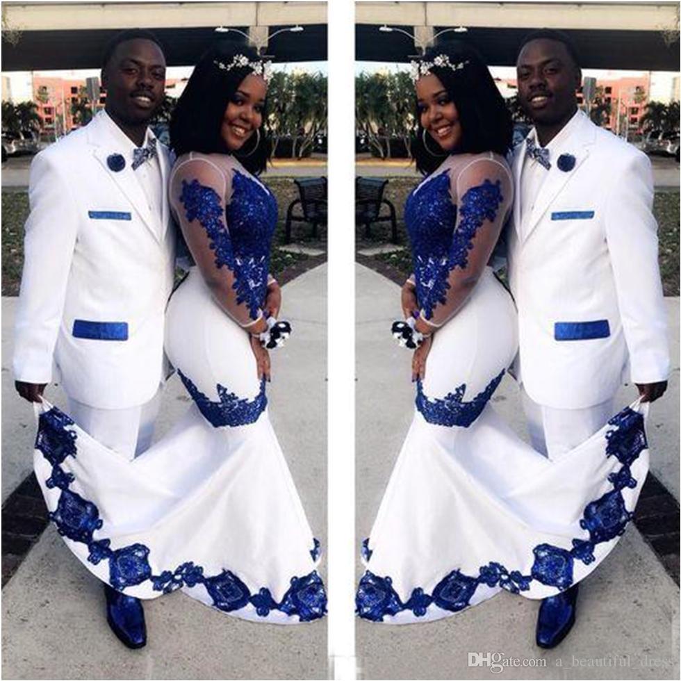 الوهم الجديد الحرير الأبيض الأزرق الملكي الرباط اسو ايبي الأفريقي فساتين طويلة الأكمام زين فستان الزفاف أثواب رسمية المسابقة