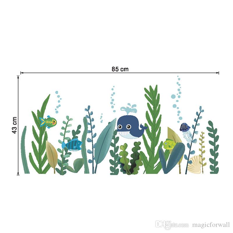 Submarine Grass Cartoon Animals Wall Decals Home Border Decor Art Wall Skirting Line Wall Mural Poster Art DIY Decoration Decal