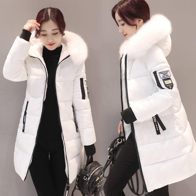 Kadınlar Parkas Kış Bayanlar Casual Uzun Palto Kadın Ceketler Kış Kadın Kapşonlu Pamuk Parkas Sıcak Coat Dış Giyim 2018 büyük beden V191025