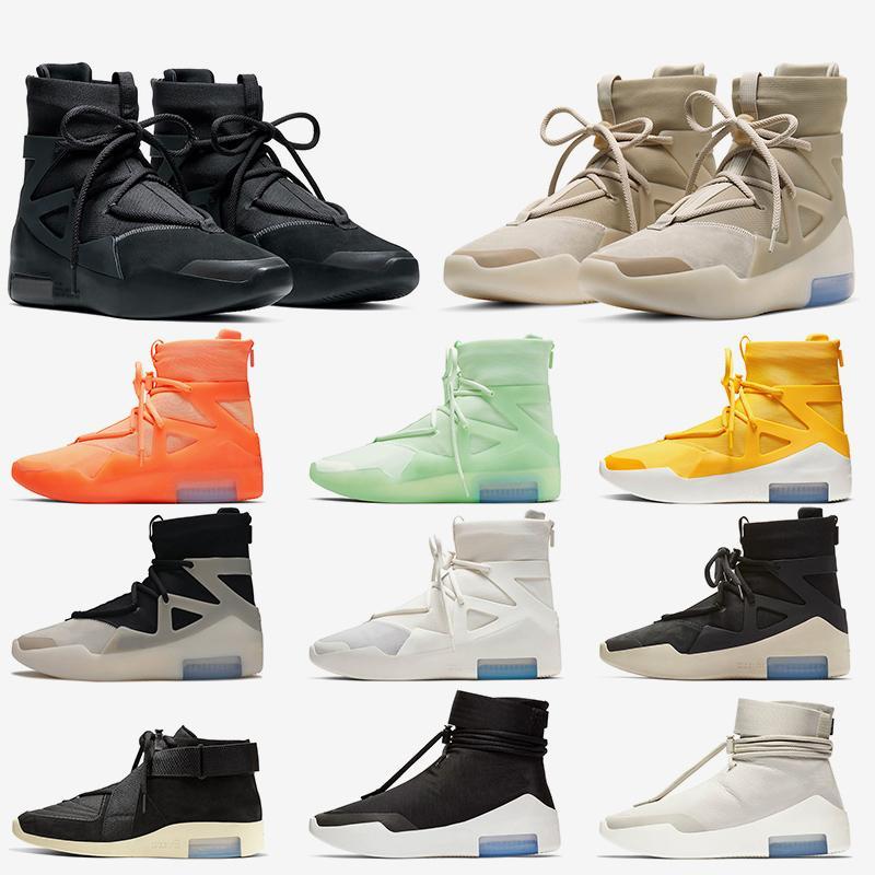 2020 Nike Air Fear of God 1 أحذية كرة السلة للرجال الثلاثي الأسود الشوفان سلسلة السؤال الأسهم × أماريلو أورانج في الهواء الطلق المرأة مصمم أحذية رياضية