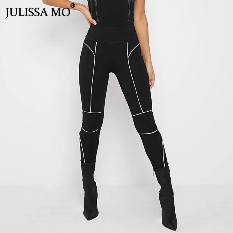 wholesale Reflective Bodycon Pencil Pants Women 2020 Summer High Waist Skinny Legging Trousers Casual Sporty Stretch Long Pant