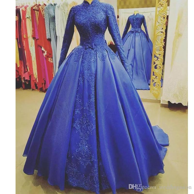 Royal Blue Abiti da sposa musulmani ad alto colletto a maniche lunghe con abito da sposa Sequin Sweep Train organza Bridal Gown