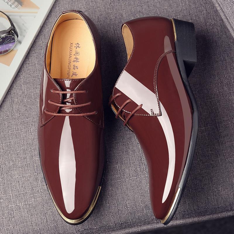 2020 zapatos de cuero del juego de negocio de los hombres de los zapatos de boda de otoño en punta, para hombres de cuero de patente de Oxfords de los hombres vestido plano formal
