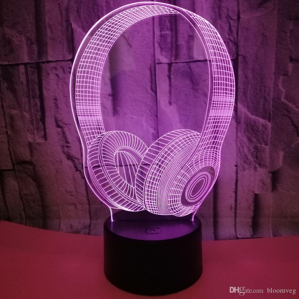 2020 Yaprak 3D Illusion LED Lamba Gece Işığı 7 RGB Renkli USB Powered 5 Pil Kutusu Dokunmatik Düğme dropshipping Hediye Kutusu