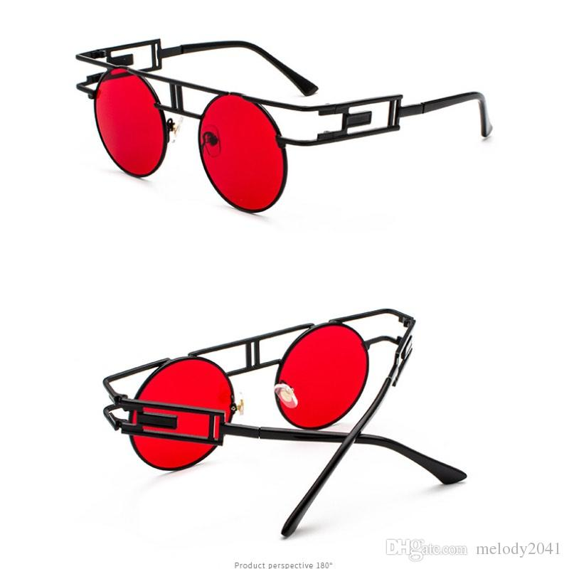 Metal Gothic Retro Sunglasses For Men Punk Style Parallel Bars Hollow Frame Designs Sun Eyeglasses Mirror Lenses Personality Eyewear