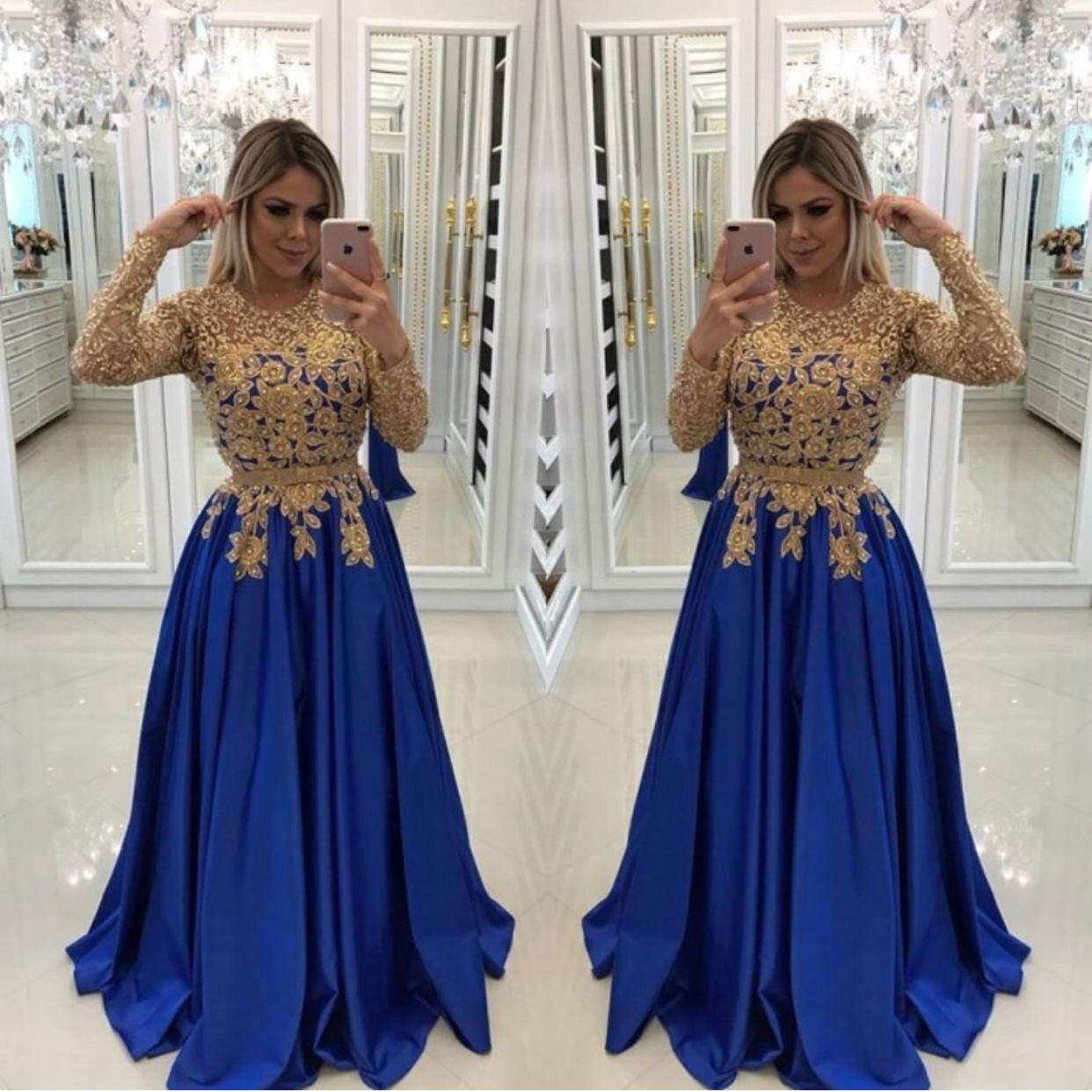 مثير الملكي الأزرق مع الذهب الدانتيل الخرز فساتين السهرة القفطان الرسمي العباءات الوهم طويل الأكمام الترتر الحرير prom مورجان اللباس زائد الحجم صغيرتي