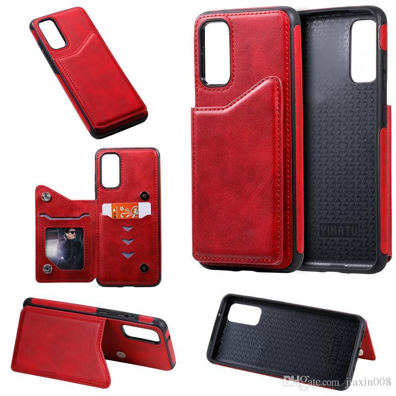 color puro de la PU billetera de cuero del caso para Samsung Galaxy S20 / S20 Plus / S20 Ultra Resistente a los golpes ranura para tarjetas de teléfono de la contraportada pata de cabra