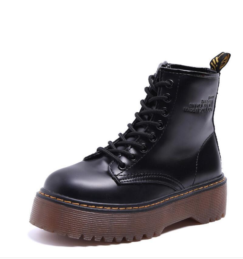 NOUVEAU Martin chaussures nouveau côté fermeture éclair style britannique rétro étudiants de moto noir épais automne occasionnel fond hiver chaussures Martin V62