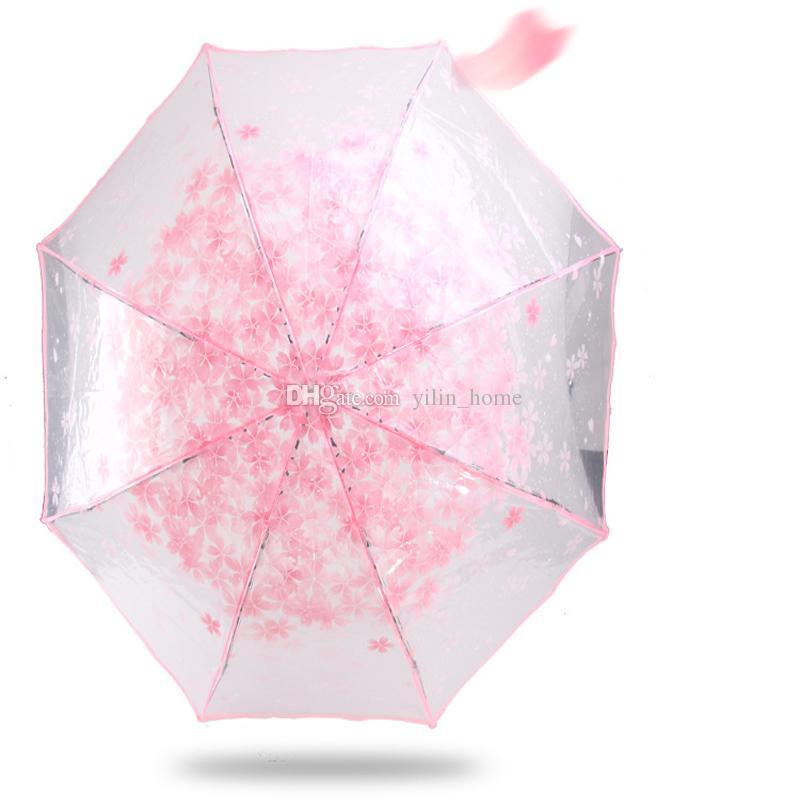 투명 우산 아름다운 접는 우산 크리 에이 티브 우산 4 색은 무료 배송을 선택할 수 있습니다