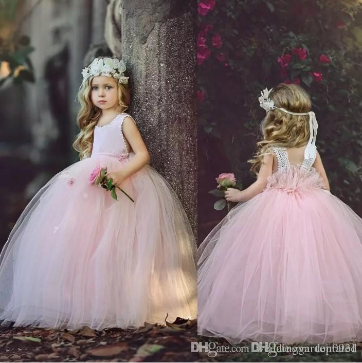 Yeni Pembe Sevimli Çiçek Kız Elbise Jewel Kolsuz Kat Uzunluk Tül Communion elbise Düğün Çocuk Parti Elbise Balo Tutu