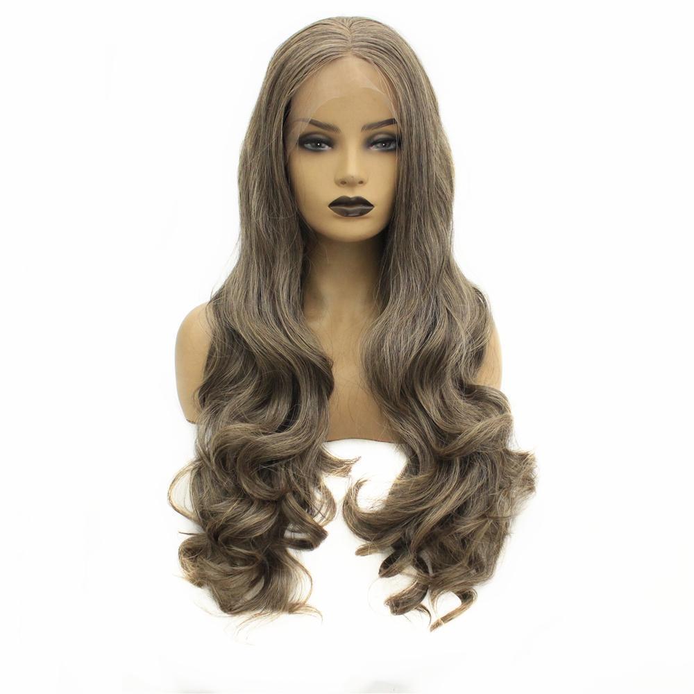 Ash Brown long du corps onduleux Glueless synthétique avant de dentelle perruque partie médiane chaleur perruques fibre résistant cheveux pour les femmes