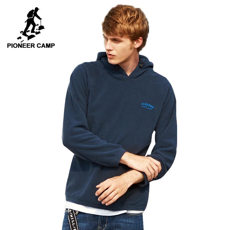 파이어 니어 캠프 따뜻한 양털 겨울 후드 남성 브랜드 의류 단색 캐주얼 후드 스웨터 남성 최고 품질의 진한 파란색 검정색 회색