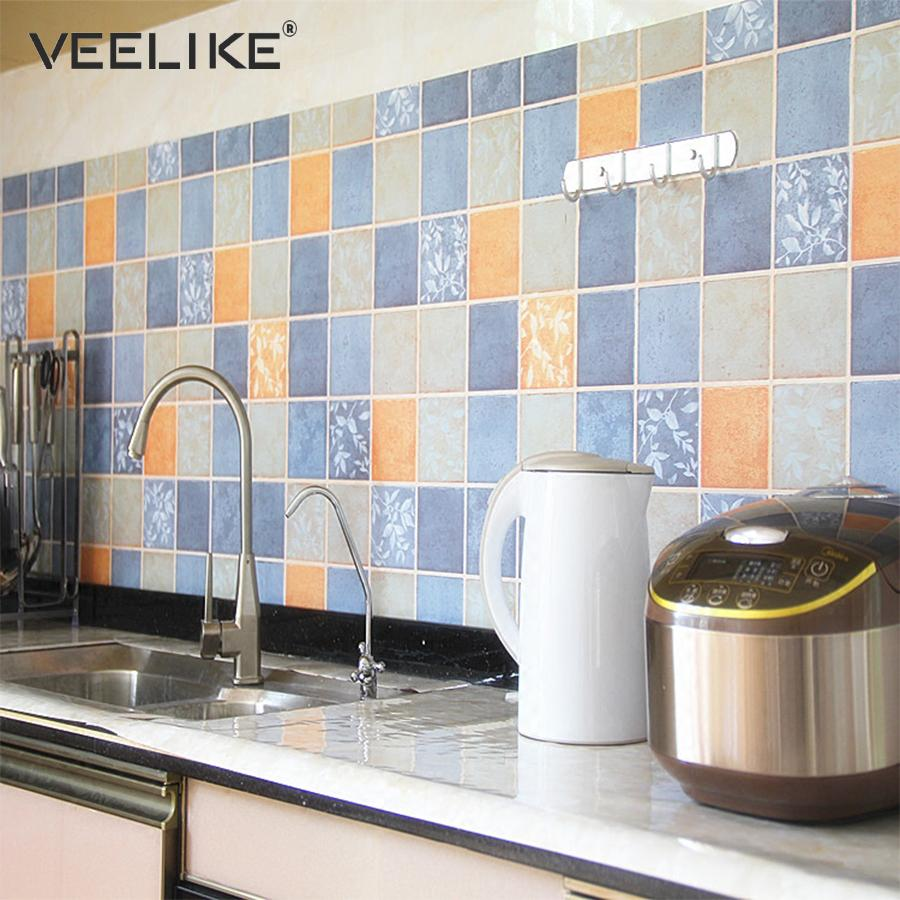 - PVC Bathroom Wallpaper For Kitchen Backsplash Tile Wall Covering