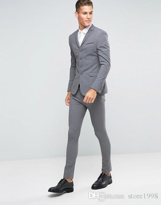 Custom Made Groomsmen Çentik Yaka Damat Smokin Gri Erkekler Düğün / Balo / Akşam Yemeği En Adam Blazer Suits (Ceket + Pantolon + Kravat) A854